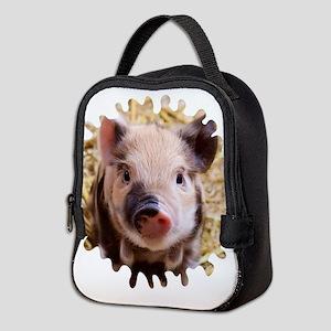 Sweet piglet,white mask Neoprene Lunch Bag