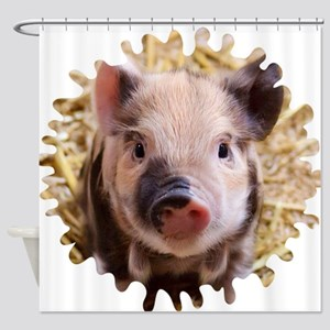 Sweet piglet,white mask Shower Curtain