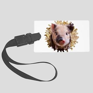 Sweet piglet,white mask Large Luggage Tag