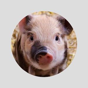 "Sweet piglet,white mask 3.5"" Button"