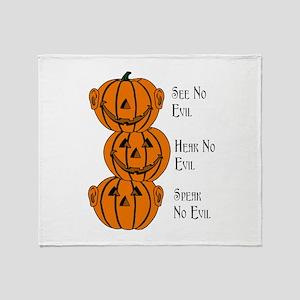 See, Hear, Speak No Evil Pumpkins Throw Blanket