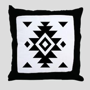 Aztec Essence Bw Throw Pillow