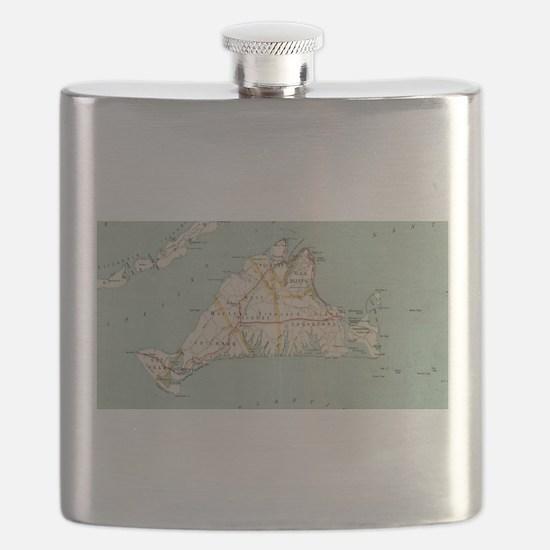 Vintage Map of Martha's Vineyard (1917) Flask
