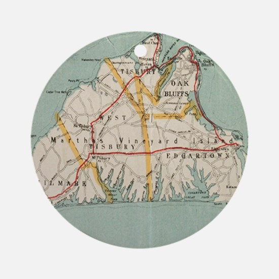Vintage Map of Martha's Vineyard (1 Round Ornament