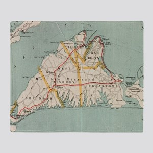 Vintage Map of Martha's Vineyard (19 Throw Blanket