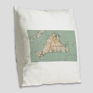Vintage Map of Martha's Vineya Burlap Throw Pillow