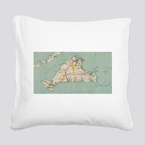 Vintage Map of Martha's Viney Square Canvas Pillow