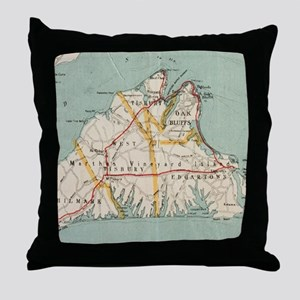 Vintage Map of Martha's Vineyard (191 Throw Pillow