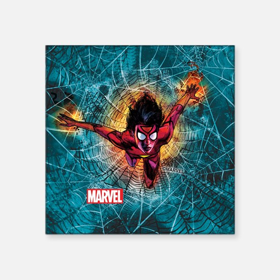 """Spider-Woman Leaping Square Sticker 3"""" x 3"""""""