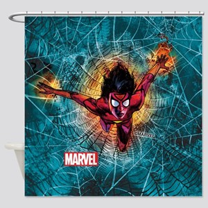 Spider-Woman Leaping Shower Curtain