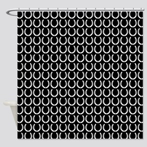 Black and White Horseshoe Pattern Shower Curtain