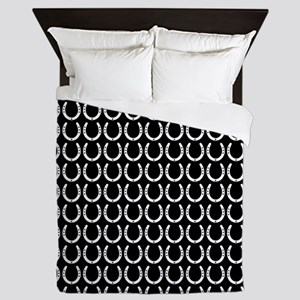 Black and White Horseshoe Pattern Queen Duvet