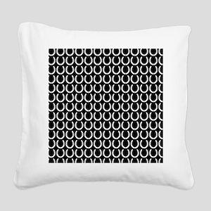 Black and White Horseshoe Pat Square Canvas Pillow