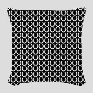 Black and White Horseshoe Patt Woven Throw Pillow