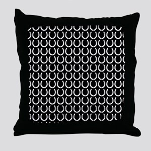 Black and White Horseshoe Pattern Throw Pillow