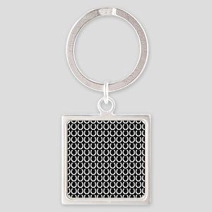 Black and White Horseshoe Pattern Square Keychain
