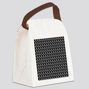 Black and White Horseshoe Pattern Canvas Lunch Bag