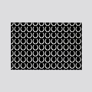 Black and White Horseshoe Pattern Rectangle Magnet