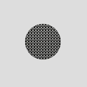 Black and White Horseshoe Pattern Mini Button