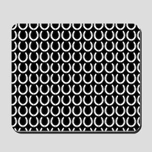 Black and White Horseshoe Pattern Mousepad