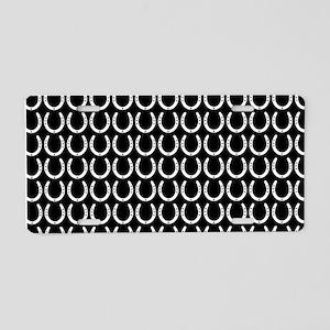 Black and White Horseshoe P Aluminum License Plate