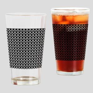 Black and White Horseshoe Pattern Drinking Glass