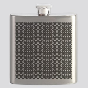 Black and White Horseshoe Pattern Flask