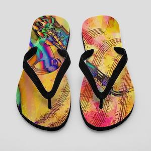 Colorful saxaphone Flip Flops