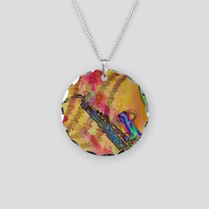 Colorful saxaphone Necklace Circle Charm