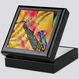 Colorful saxaphone Keepsake Box
