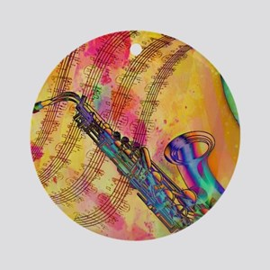Colorful saxaphone Ornament (Round)