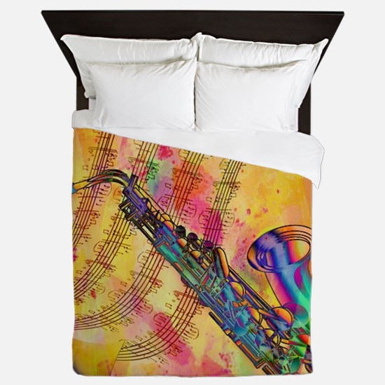 Colorful saxaphone Queen Duvet
