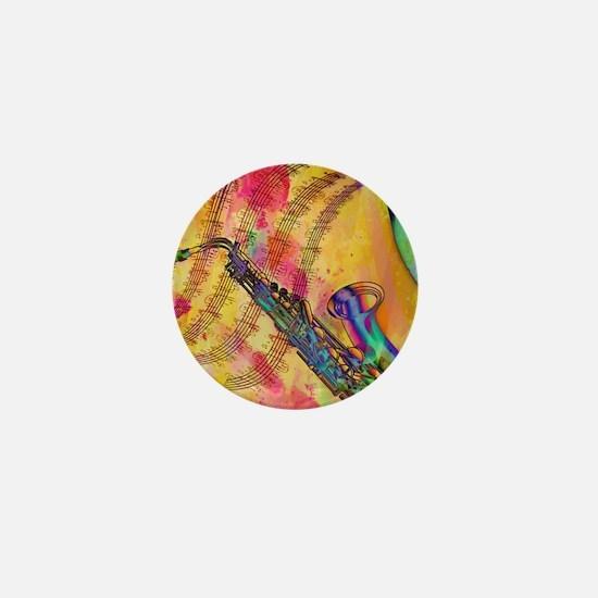 Colorful saxaphone Mini Button