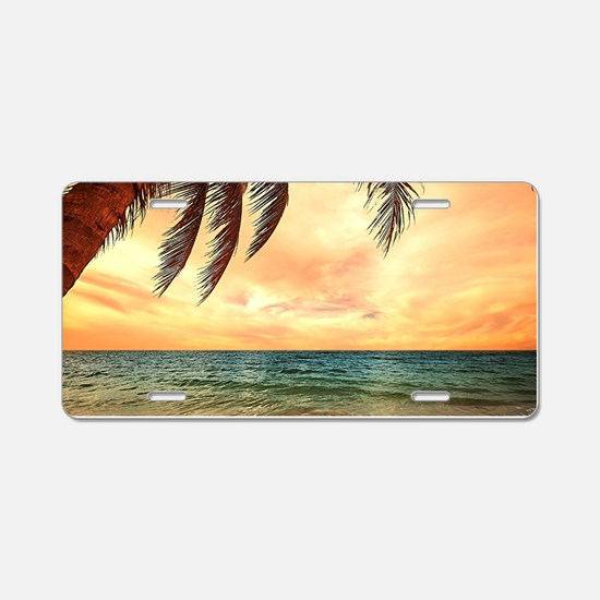 Ocean Sunset Aluminum License Plate