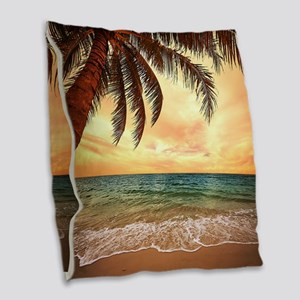 Ocean Sunset Burlap Throw Pillow