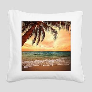 Ocean Sunset Square Canvas Pillow