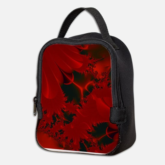 Red Fusions Fractal Art Neoprene Lunch Bag