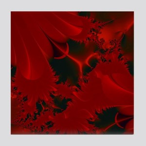 Red Fusions Fractal Art Tile Coaster