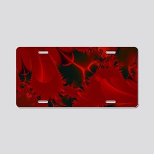 Red Fusions Fractal Art Aluminum License Plate