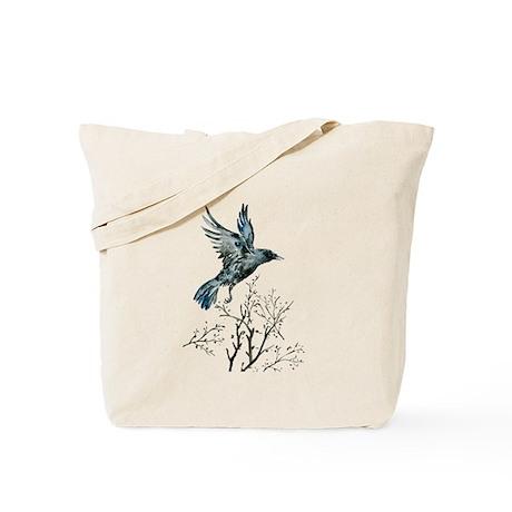Watercolor flying Crow Tote Bag