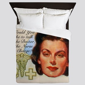 Nurses in Charge Vintage Design Queen Duvet