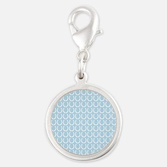 Horseshoe Pattern Silver Round Charm