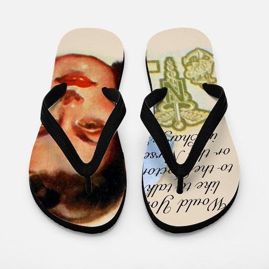 Nurses in Charge Vintage Design Flip Flops