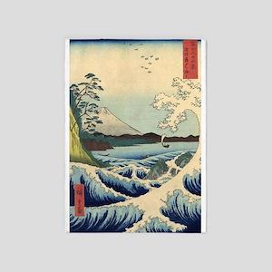 Big Waves, Mount Fuji, Vintage 5'x7'area Rug