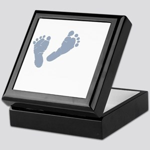 Baby Blue Footprints Keepsake Box