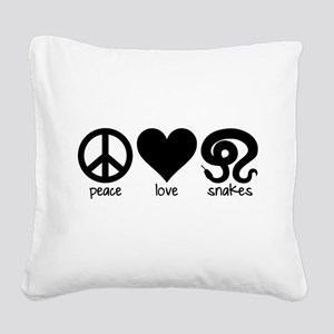 Peace Love And Snakes Square Canvas Pillow