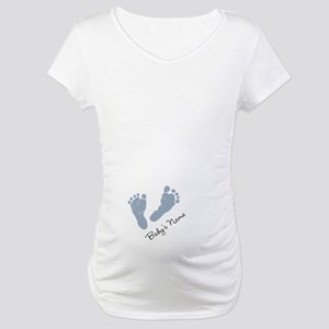 Baby Blue Footprints Maternity T-Shirt