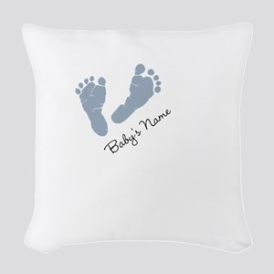 Baby Blue Footprints Woven Throw Pillow