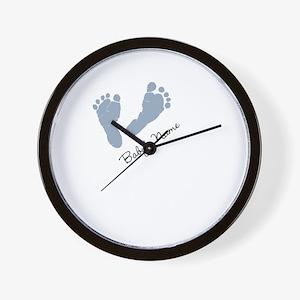 Baby Blue Footprints Wall Clock