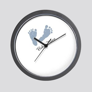 Baby Blue Footprints Wall Clock